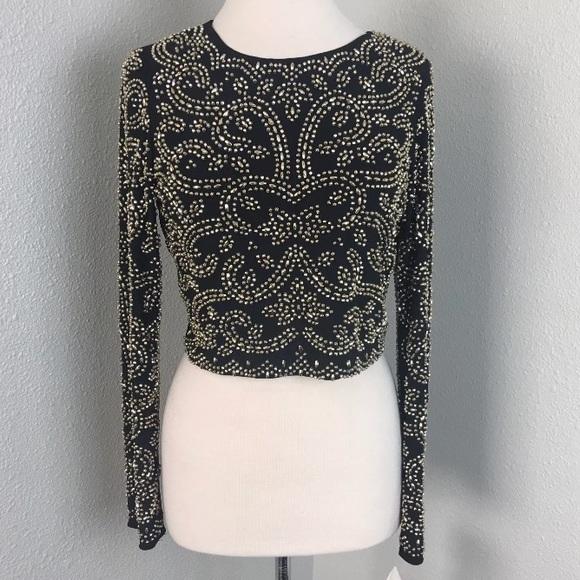 809a7c1374d2b Black Elegant Beaded Crop Longsleeve Top Formal